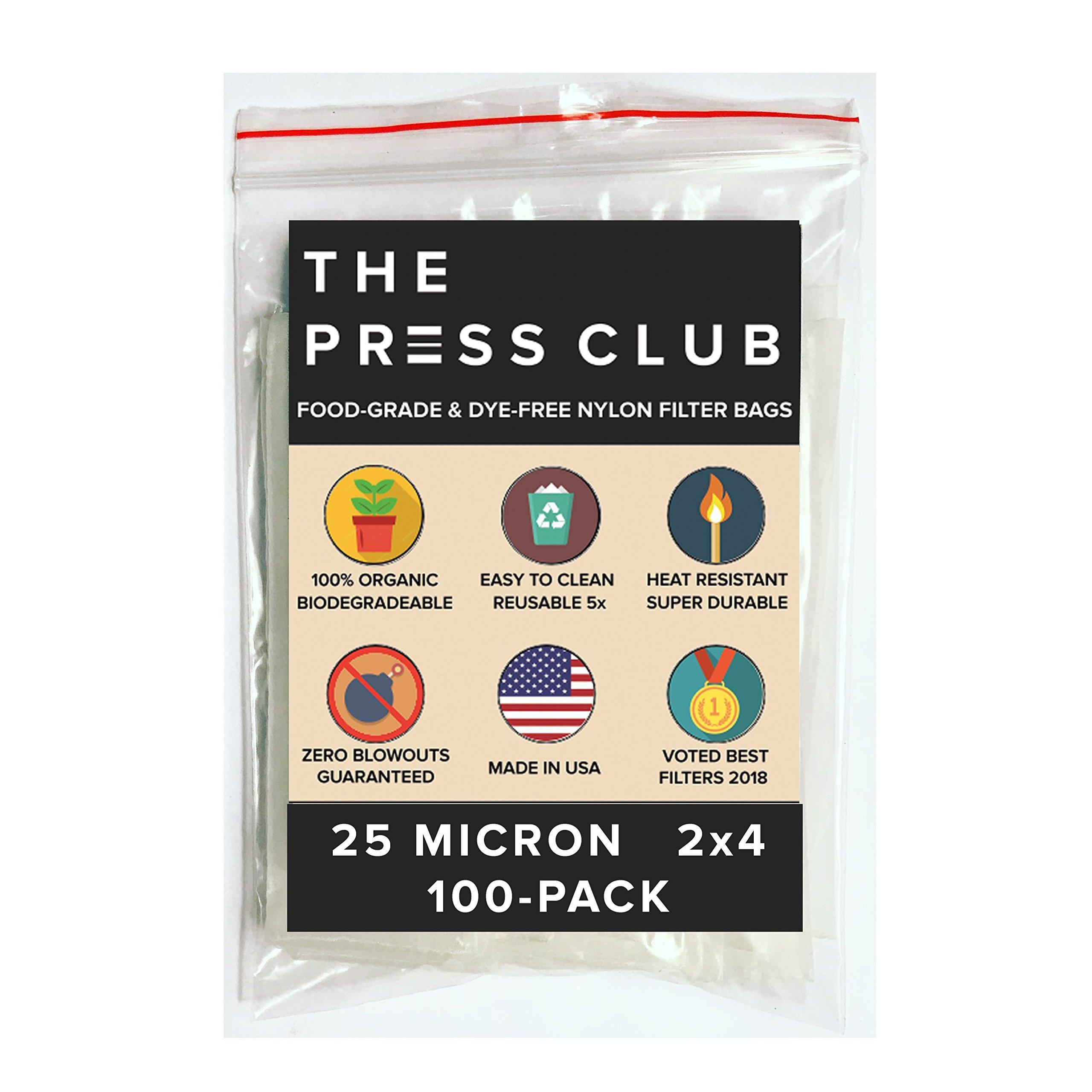 25 Micron | Premium Nylon Tea Filter Press Screen Bags | 2'' x 4'' | 100 Pack | Zero Blowout Guarantee | All Micron & Sizes Available