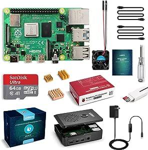 LABISTS Raspberry Pi 4 4GB Starter Kit with 64GB Micro SD Card Preloaded Raspberry Pi OS (Raspbian), Black Case, Heatsinks, Fan, Micro HDMI Cable x 2, SD Card Reader (4GB RAM)