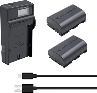 60Da EOS 5D Mark II// III// IV EOS 6D 2 Pack 2600mAh 7D Mark II Camera EOS 7D Bonacell LP-E6 Battery and LCD Charger Kit Compatible with Canon EOS R EOS 60D EOS 5DS 5DS R EOS 80D 70D