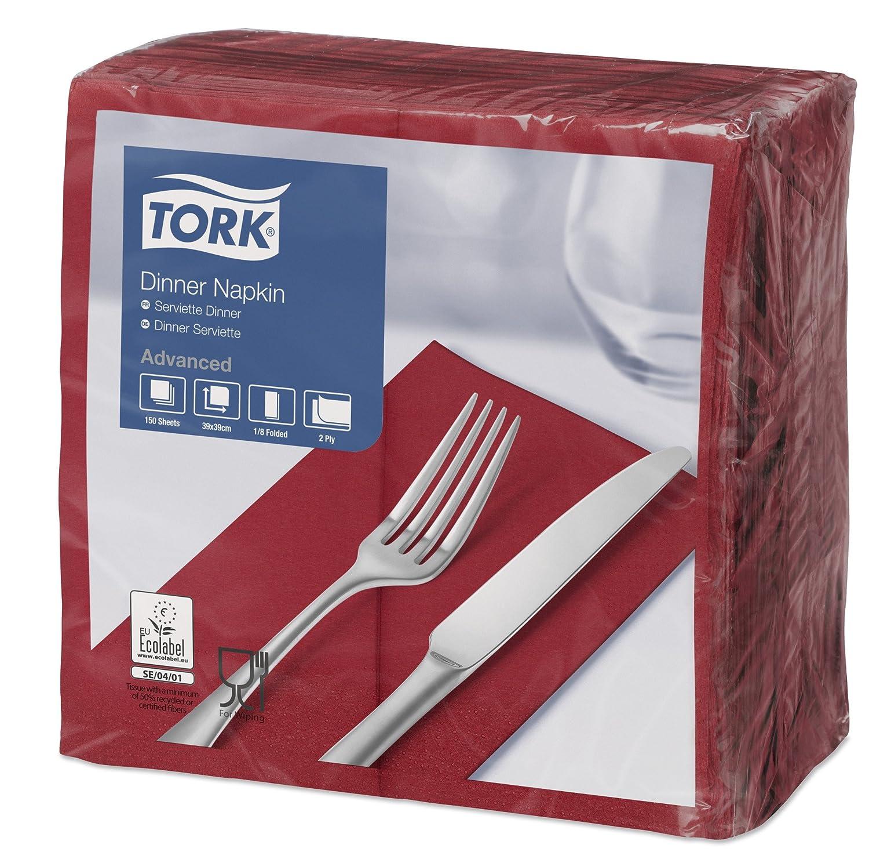 SCA Tork 477570 Dinner Napkin, 2 Ply, 1/8 Fold, 39 x 39 cm, ruby red (Pack of 1800) 2Ply 1/8Fold 39x 39cm