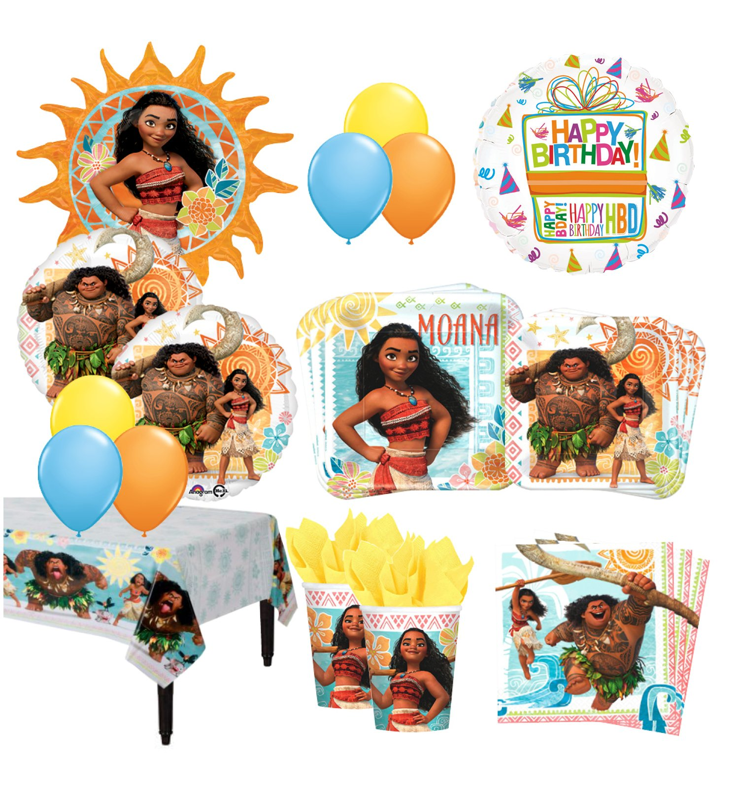 The Ultimate16 Guest 92pc Moana the Movie Birthday Party Supplies and Balloon Decoration Kit