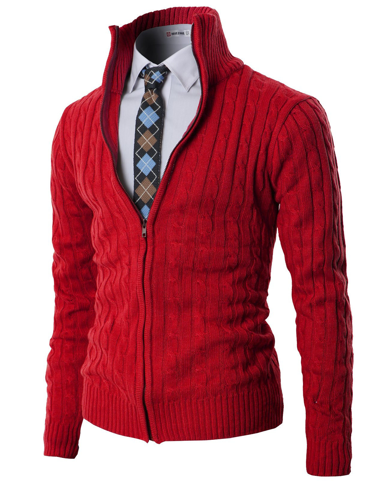 H2H Mens Casual Knitted Cardigan Zip-up with Twisted Pattern - US L (Asia XL) - Kmocal017-red