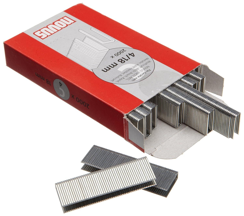 XL-Packung zur Befestigung von Profilh/ölzern und Paneelen Typ C4//18 Novus Schmalr/ückenklammern 18 mm 2000 Klammern