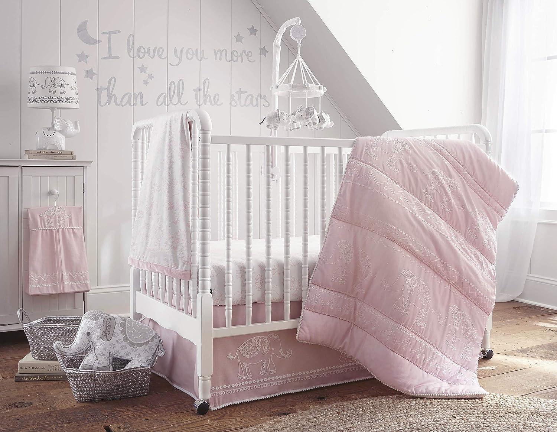 White Levtex Home Baby Ely 5 Piece Crib Bedding Set