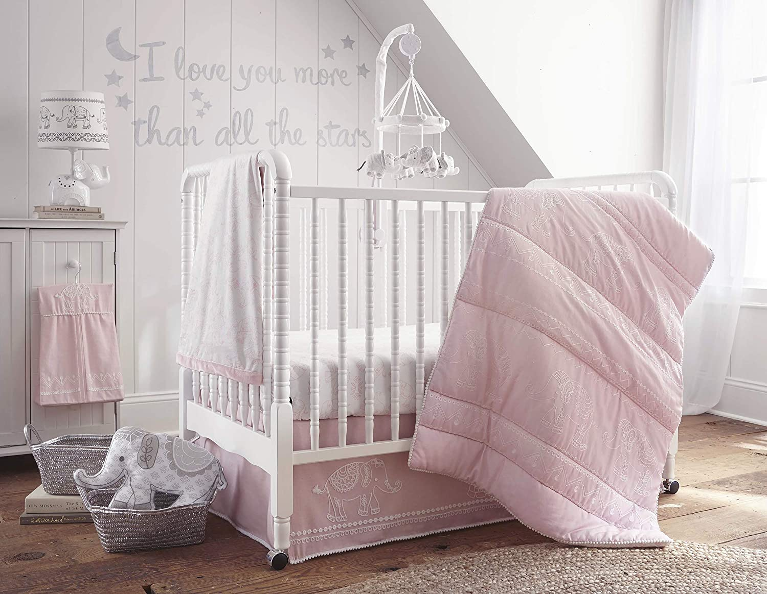 Amazon Com Levtex Home Baby Ely 5 Piece Crib Bedding Set Pink Baby