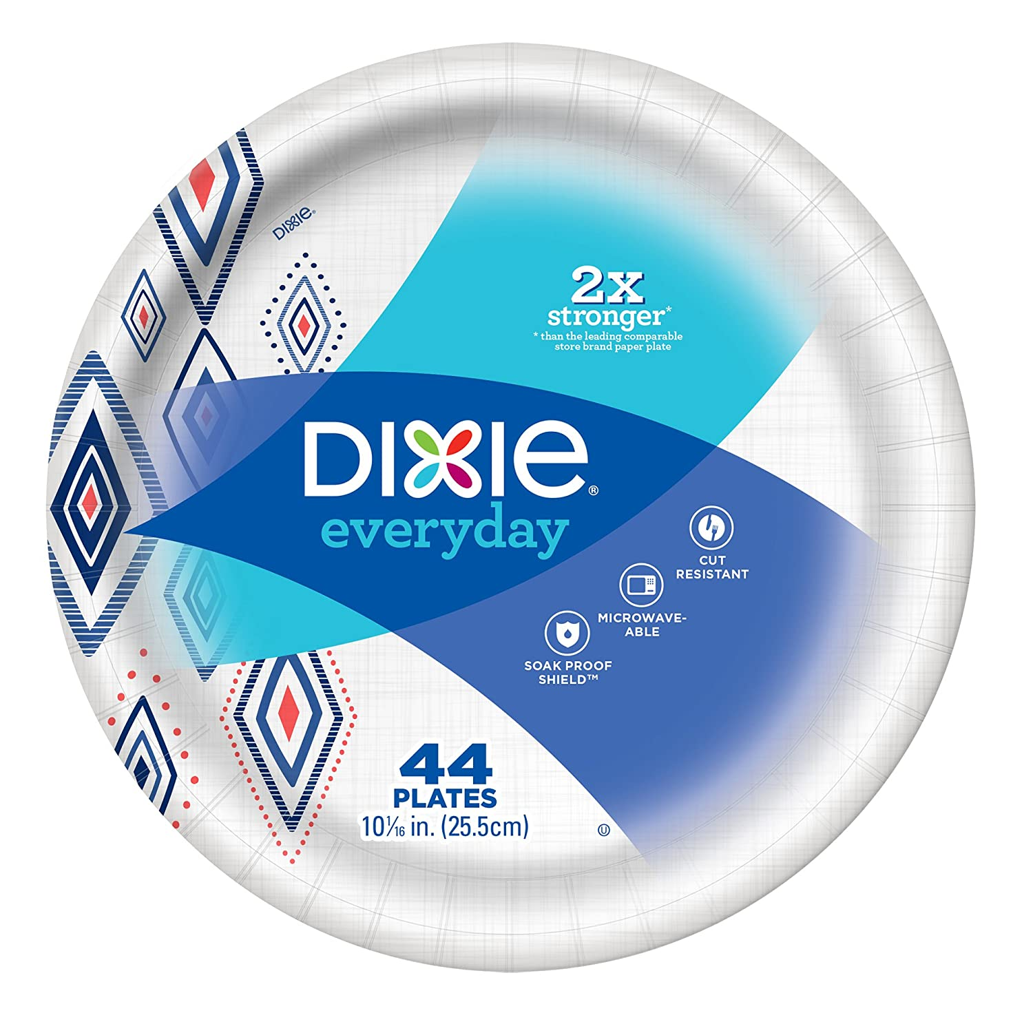 """Dixie Everyday Paper Plates,10 1/16"""" Plate, 220 Count,  Exclusive Design, 5 Packs of 44 Plates, Dinner Size Printed Disposable Plates"""