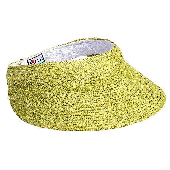 f67fe881427 Dorfman Pacific Lime Green Straw Large Brim Sun Visor Hat  Amazon.co.uk   Clothing