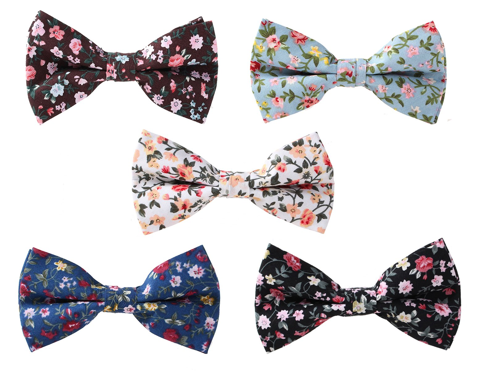 Levao Men's Cotton Floral Printing Bow Tie Mix 5 colors