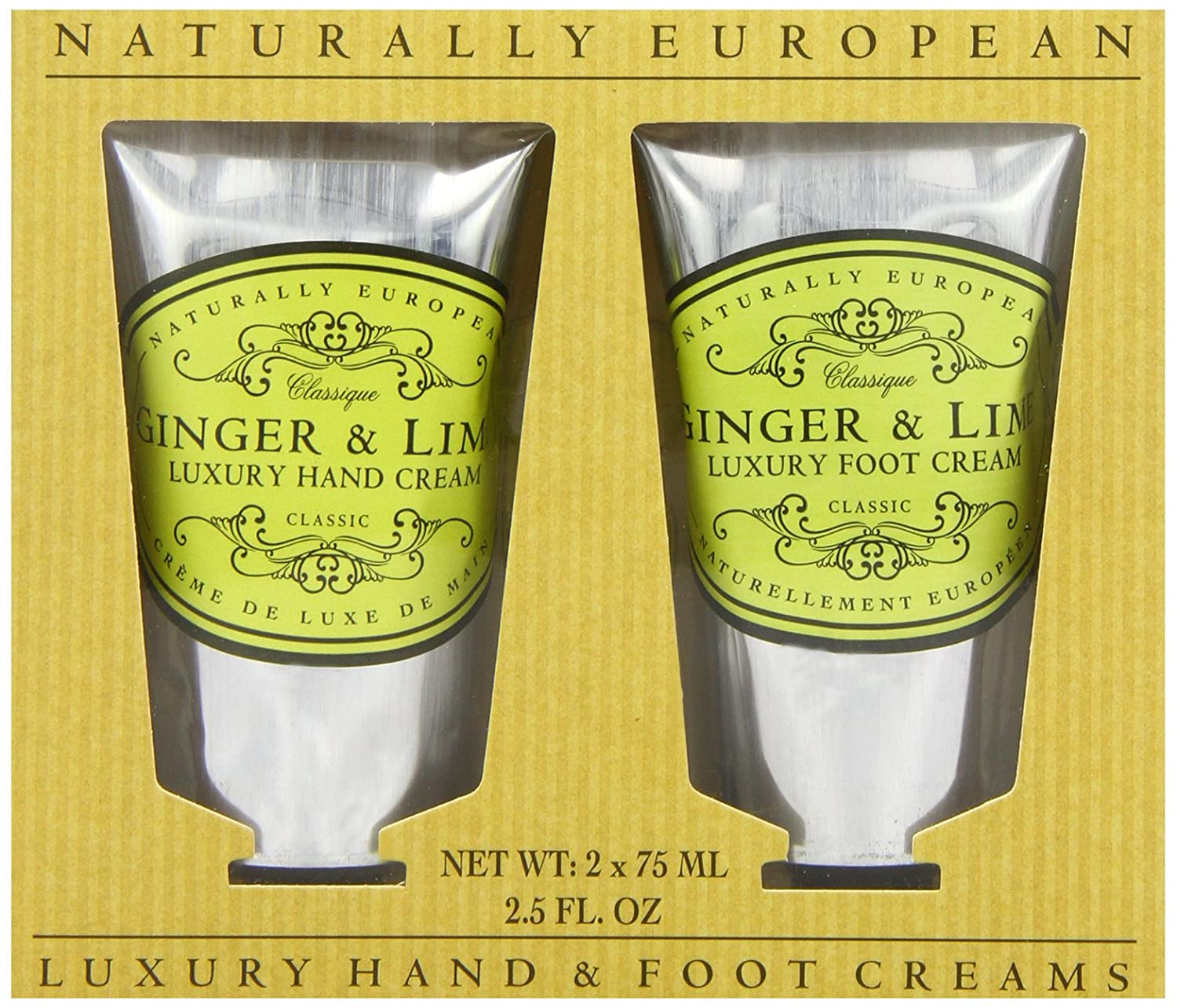 Naturally European Ginger And Lime Luxury Hand And Foot Cream Gift Set Collection 2 x 75ml…
