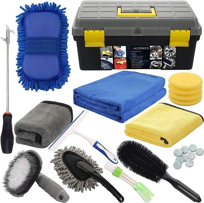 Amazon.com: AUTODECO 25Pcs Microfibre Car Wash Cleaning Tools Set Gloves Towels Applicator Pads Sponge Car Care Kit Wheel Brush Car Cleaning Kit with Storage Box Black Grey Yellow Handle: Automotive