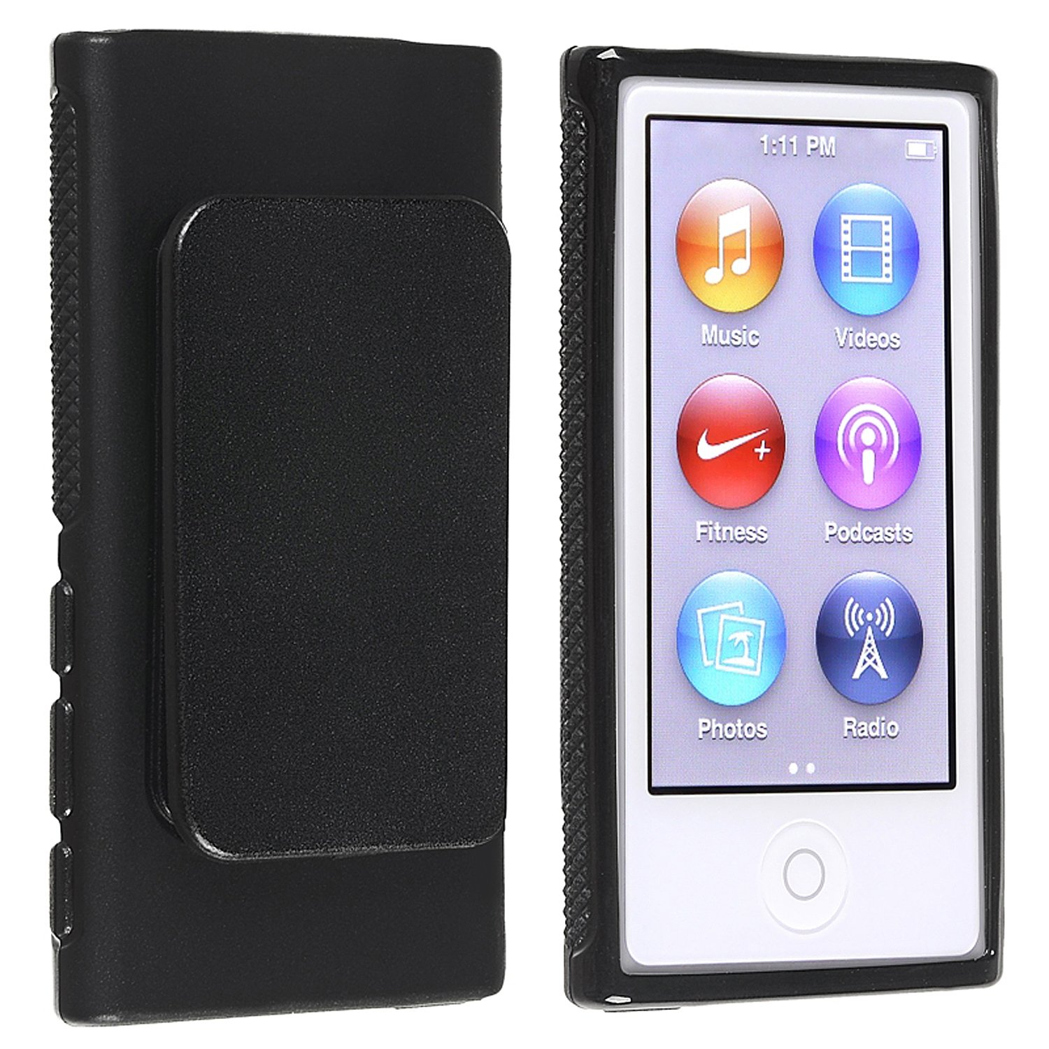 Everydaysource Compatible With Apple iPod nano 7th Generation Black TPU Rubber Skin Case with Belt Clip 857106