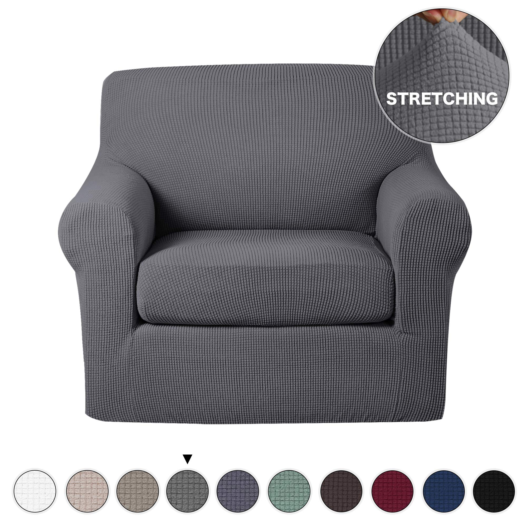 Turquoize 2 Piece Chair Slipcovers with Elastic Bottom Gray Sofa Slipcover  Sofa Cover Furniture Protector for Living Room Arm Chair Cover with ...