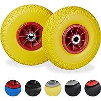Relaxdays 2 x steekwagenwiel, lekbestendige massief rubberen banden, 3,00-4 inch, 20 mm as, tot 80 kg, 260 x 85 mm, geel…