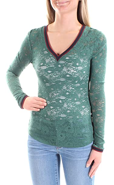 2aa5ddea96f Image Unavailable. Image not available for. Color: Free People $58 Womens  New 1388 Green Embroidered Lace Long Sleeve ...
