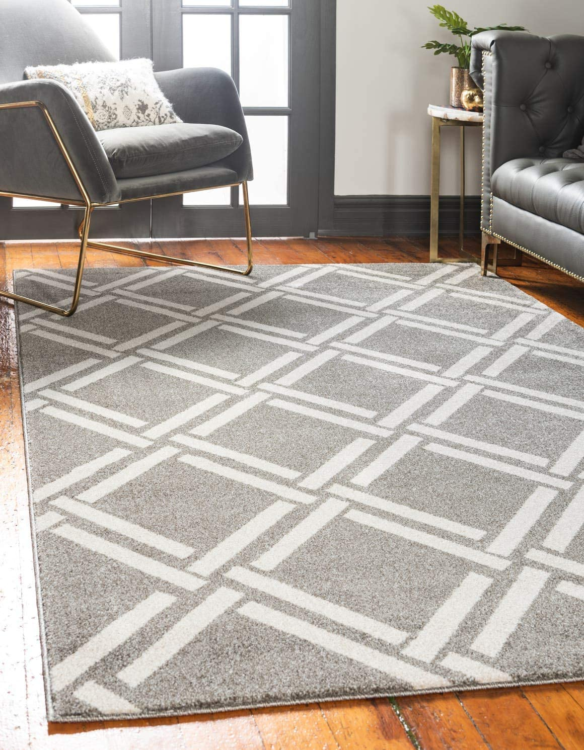 Unique Loom Trellis Collection Geometric Modern Gray Area Rug 5 0 x 8 0
