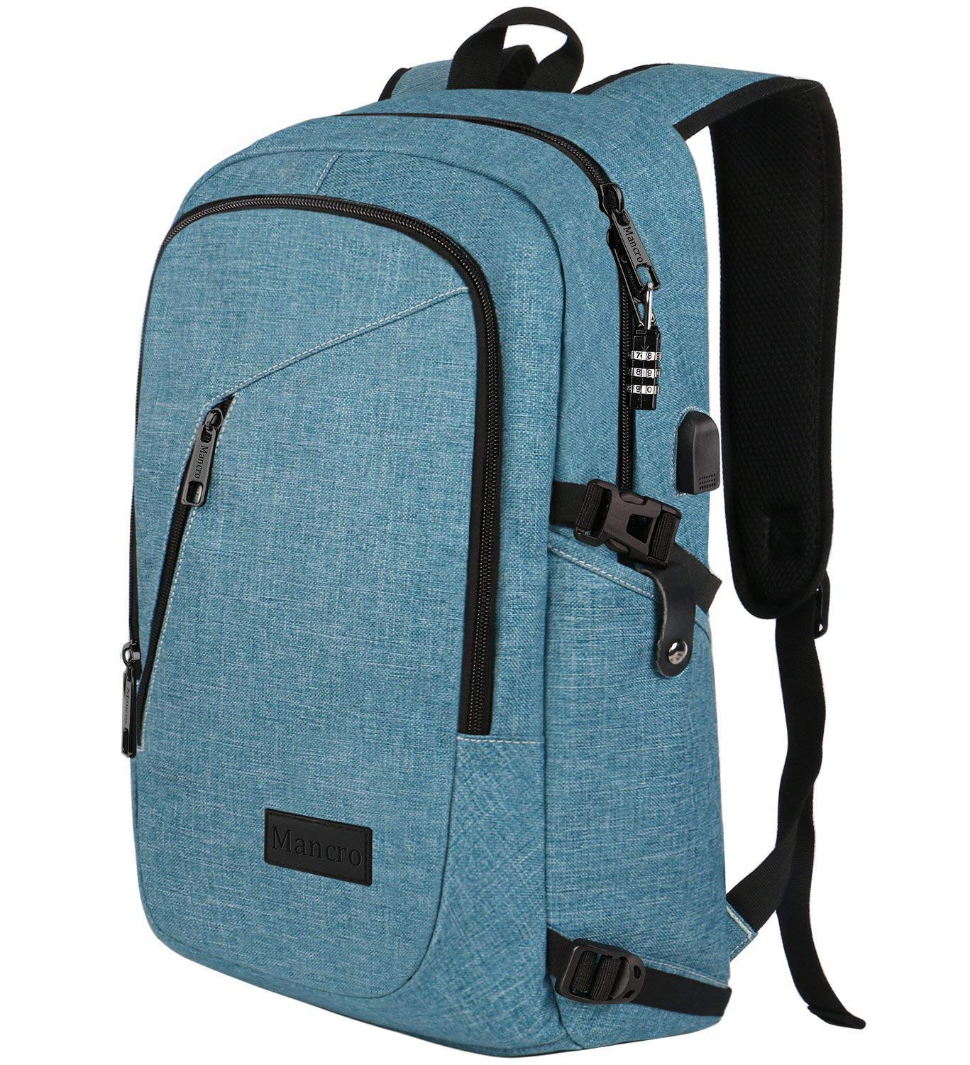 School Backpack for Women, Anti Theft College Student Backpack with USB Port, Slim Lightweight Laptop Backpack, Water Resistant Sturdy Carry On Rucksack for Work Campus Fit 15.6'' Computer (Crest Blue)