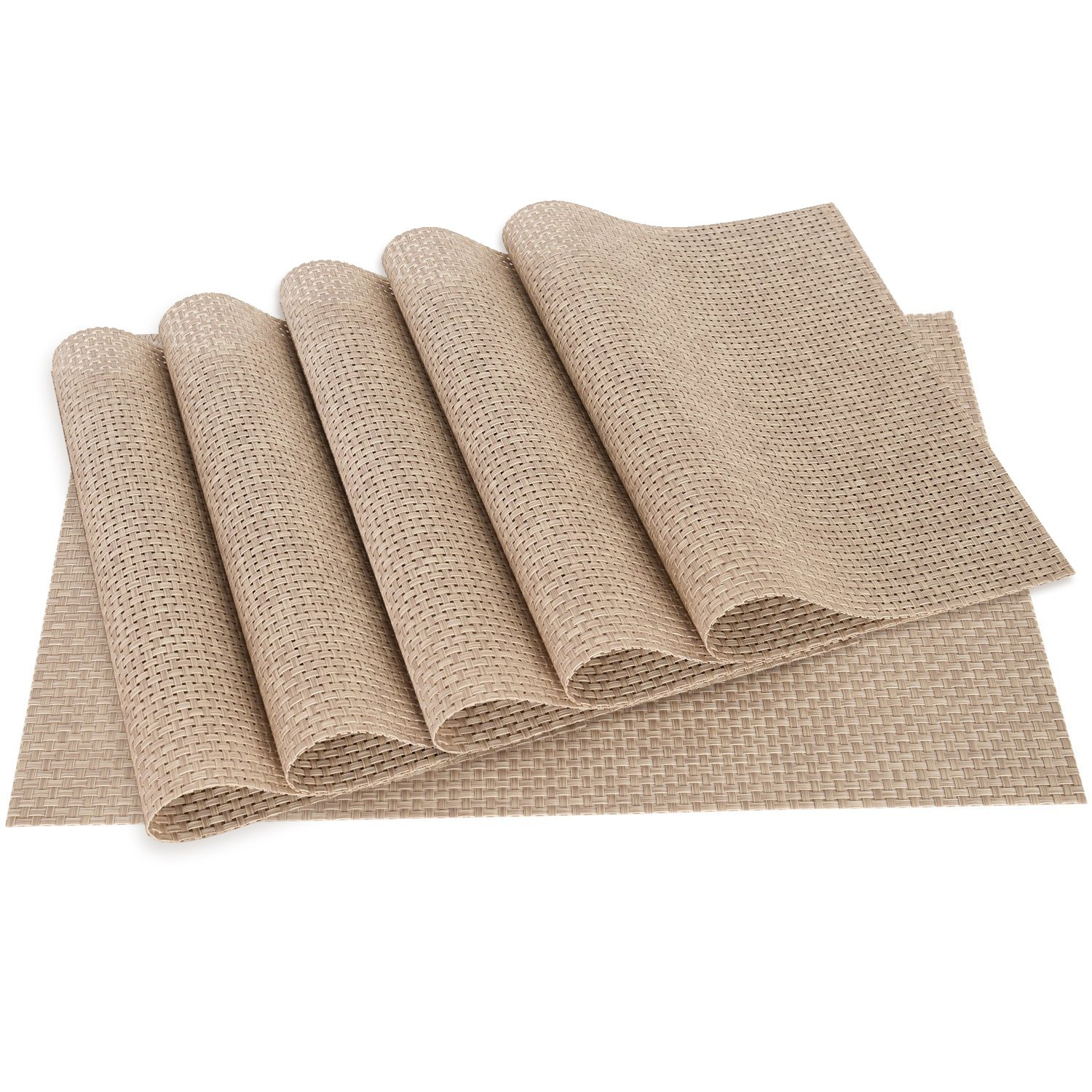 Homcomoda Table Mats Washable PVC Dining Place Mats Non-slip Heat-resistant Vinyl Placemats Set of 6 (Beige)