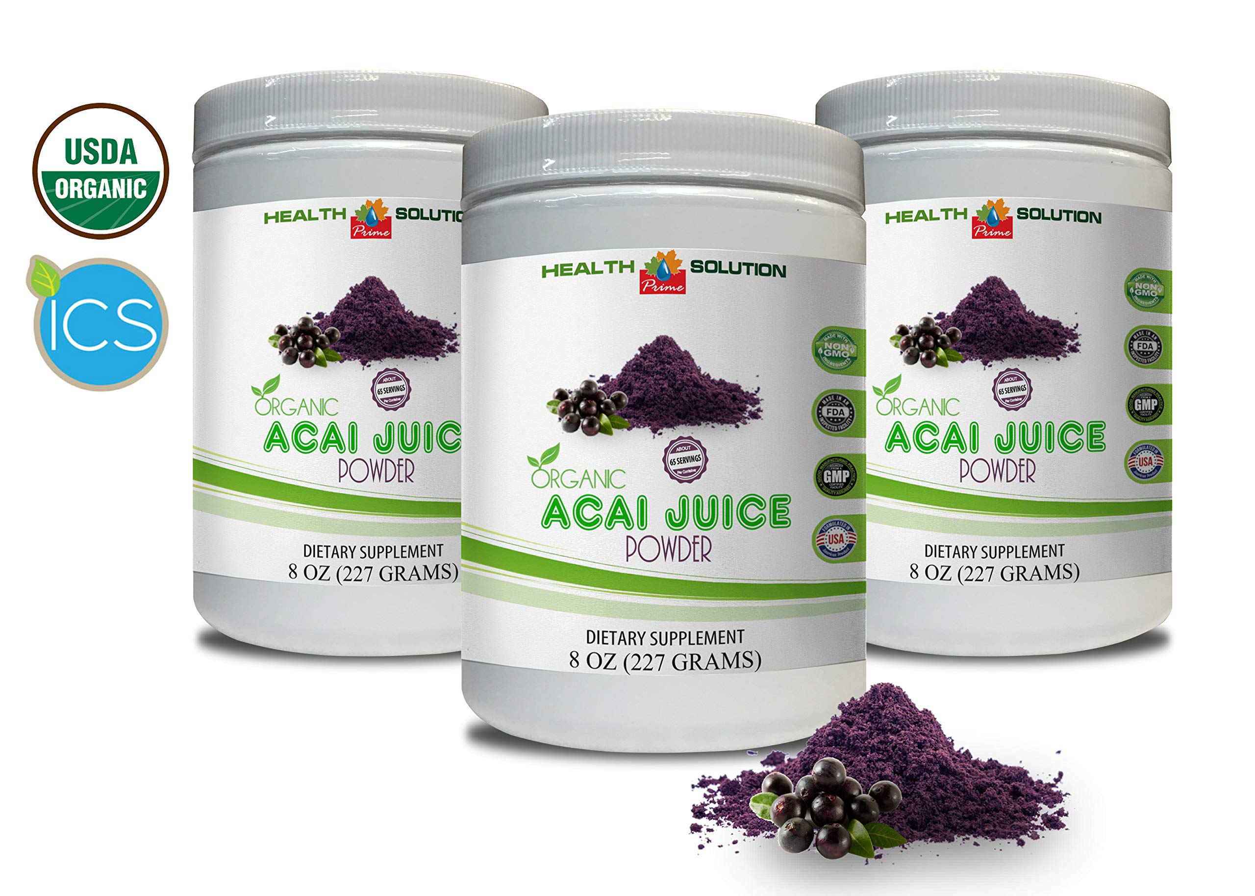 Digestion Supplement Powder - Organic ACAI Juice Powder - Pure acai Powder - 3 Cans 24 OZ (195 Servings) by Health Solution Prime (Image #1)