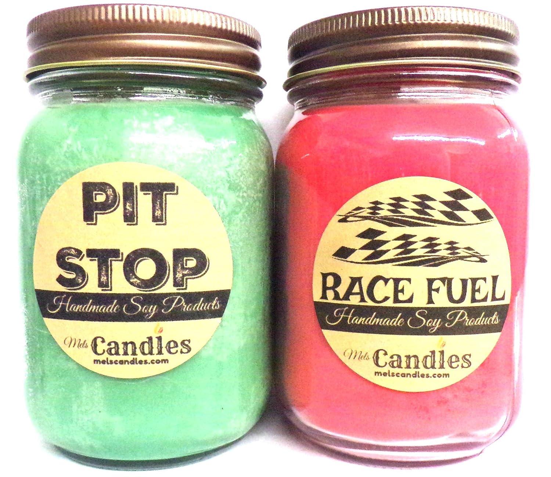 コンボ – Pit Stop & Race燃料のセット2つ16oz国Jar大豆キャンドルGreat Unique Scents for Men B0777PQWQP