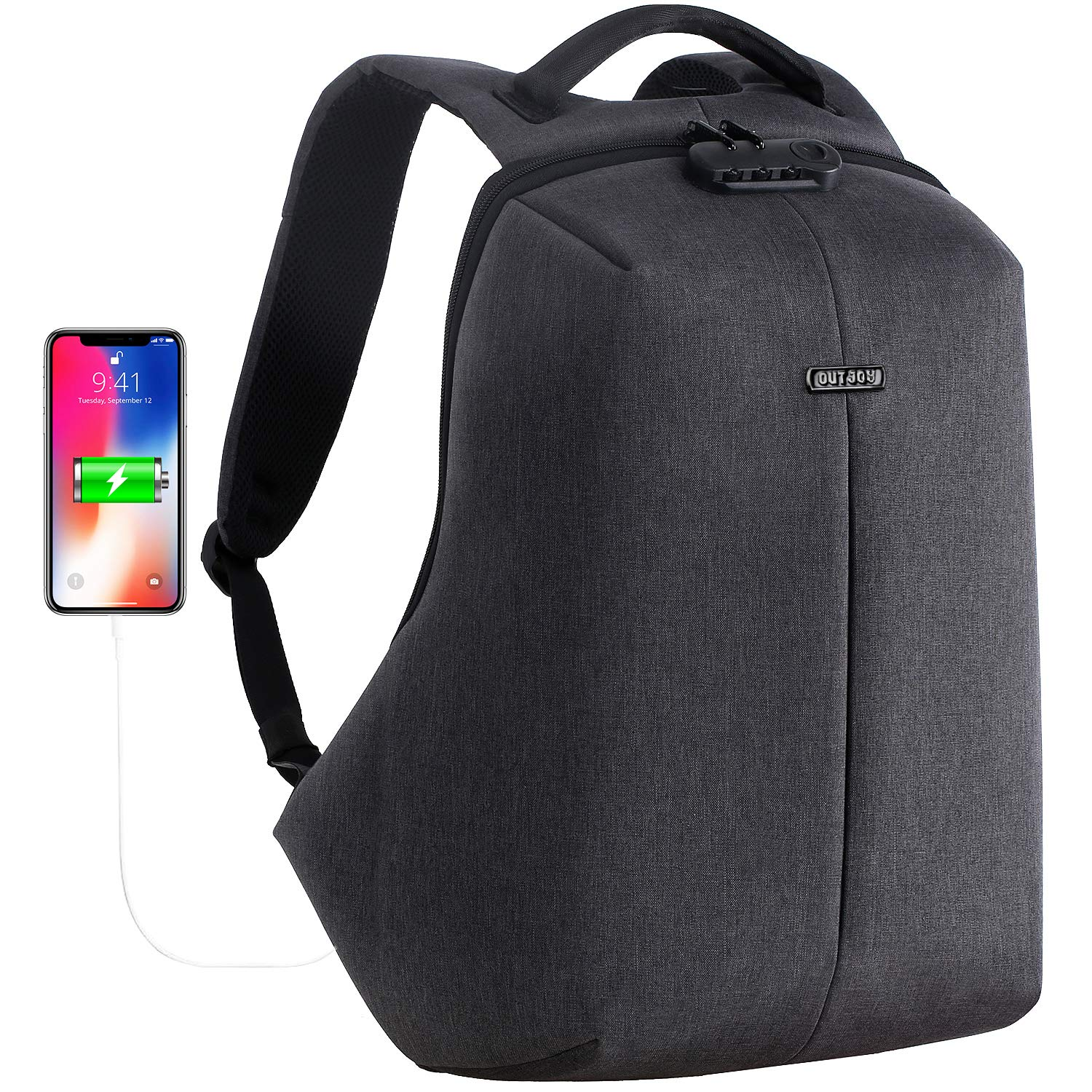 OUTJOY Anti Theft Travel Backpack Waterproof Laptop Backpack for Men Women Lockable Computer Backpack with USB Charging Port Padded Compartment for 15.6 inches Laptop School Backpack TSA Friendly Grey by OUTJOY