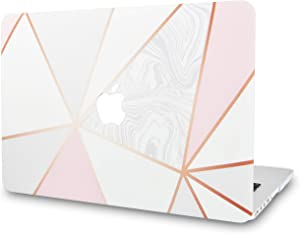 "KECC Laptop Case for MacBook Air 13"" Retina (2020/2019/2018, Touch ID) Plastic Case Hard Shell Cover A2179/A1932 (White Marble with Pink Grey 2)"