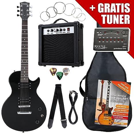 Rocktile L-Pack guitarra eléctr set negro incl. Amp, bolsa, afinador,