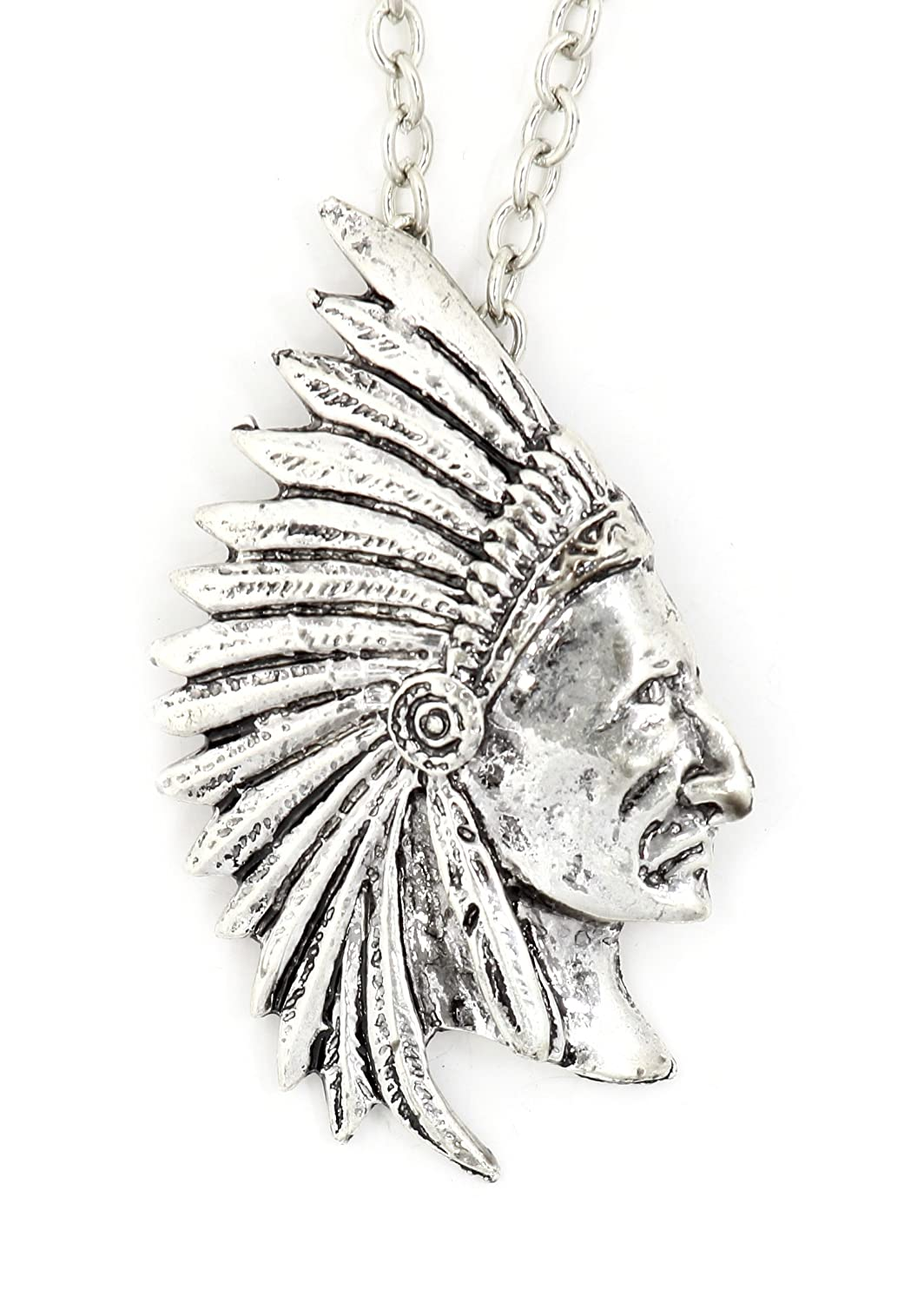 Magic Metal Indian Chief Necklace Native American Warrior Pendant NU20 Fashion Jewelry