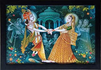 Shree Handicraft Lord Krishna Radha Krishna Painting with Frame