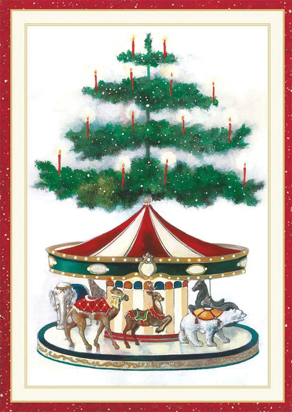 Caspari Christmas Cards.Entertaining With Caspari Christmas Carousel Christmas Cards Box Of 16 Red 4 X 5 3 4
