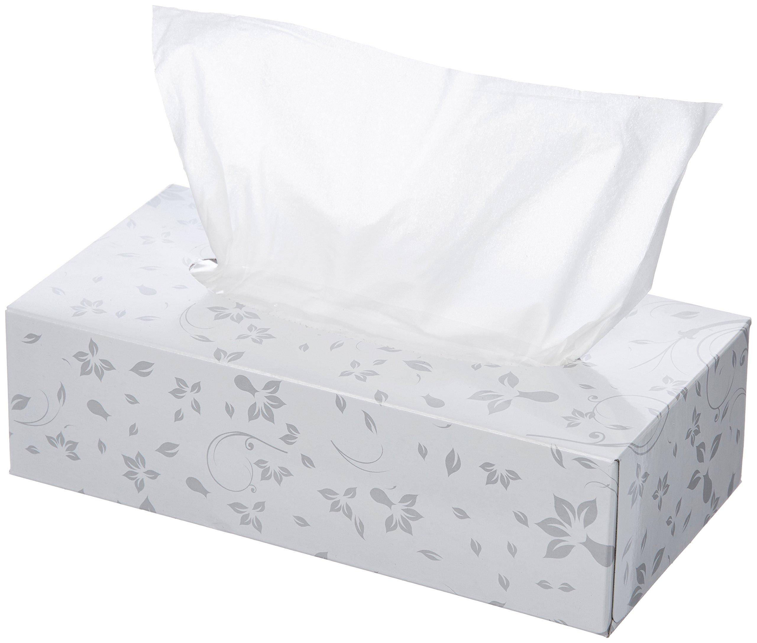 AmazonBasics Professional Facial Tissue Flat Box for Businesses, 2-Ply, White, 125 Tissues per Box, 48 Boxes