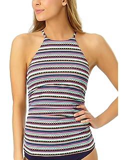 0505758d61e Anne Cole New Women's High Neck Strappy Back Tankini Swim Top Multicolor