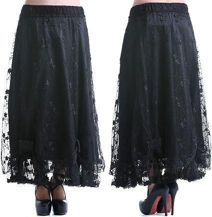 crazyinlove Mujer Falda larga encaje negro Talla única : Amazon.es ...