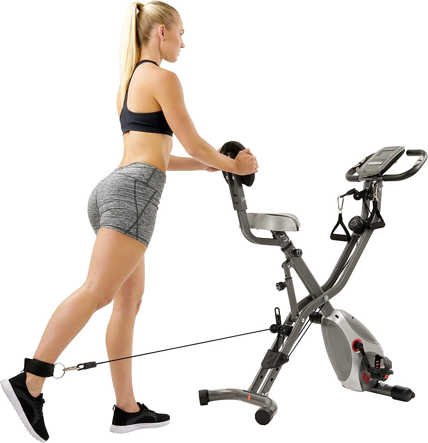 Sunny Health /& Fitness Foldable Semi Recumbent Magnetic Upright Exercise Bike w//Pulse Rate Monitoring SF-B2710 Adjustable Arm Resistance Bands and LCD Monitor