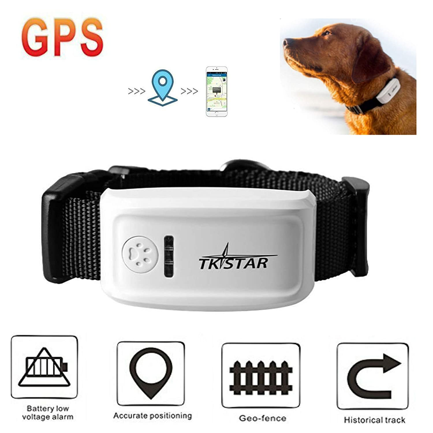 Hangang Gps Pet Tracker For Large Dogs Locator Precision Receiver Battery Low Voltage Alarm Collar Real Time Tracking Android Iphone Apps Electronics
