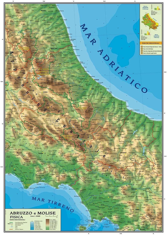 Cartina Fisica Umbria Da Stampare.Carta Geografica Murale Regionale Abruzzo Molise 100x140 Bifacciale Fisica E Politica Amazon It Cancelleria E Prodotti Per Ufficio