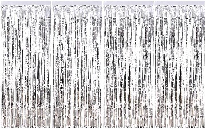 Sancuanyi 1m X 2 5m 4 Stück Lametta Vorhänge Dekoration Folie Vorhang Glitzer Deko Glänzende Fransenvorhang Fransen Für Hochzeit Disco Geburtstagsdekoration Diy Party Favor Dekorationen Silber Küche Haushalt