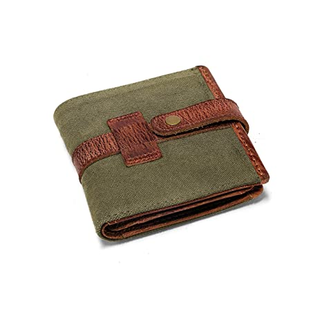 DRAKENSBERG Wallet, cartera, billetera, portmonnaie, monedero, lona, cuero, vintage