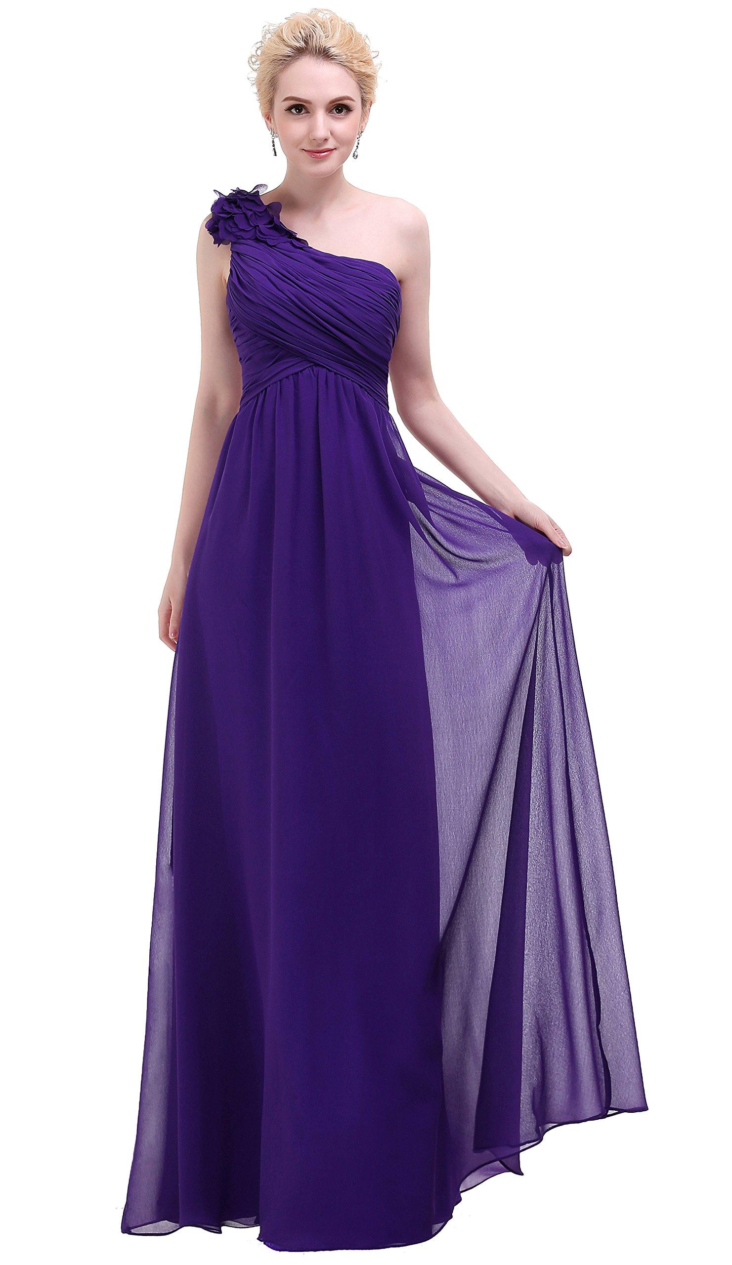 Bislu Flowers One Shoulder Long Prom Party Bridesmaids Dress Dark Purple 14