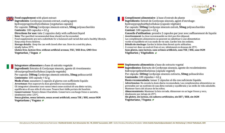 Extracto de Cordyceps Sinesis CS-4 500mg 100 Cápsulas Vita World Farmacia Alemania Cordyceps Sinensis - Energía - Vitalidad