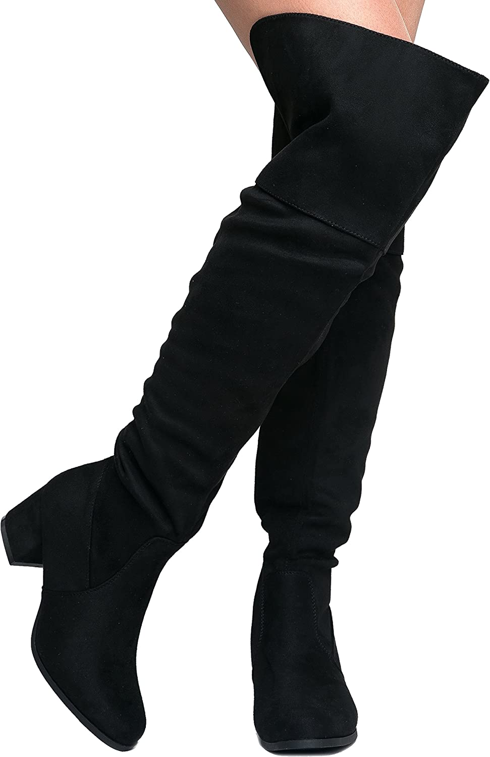 Thigh High Low Heel Boots