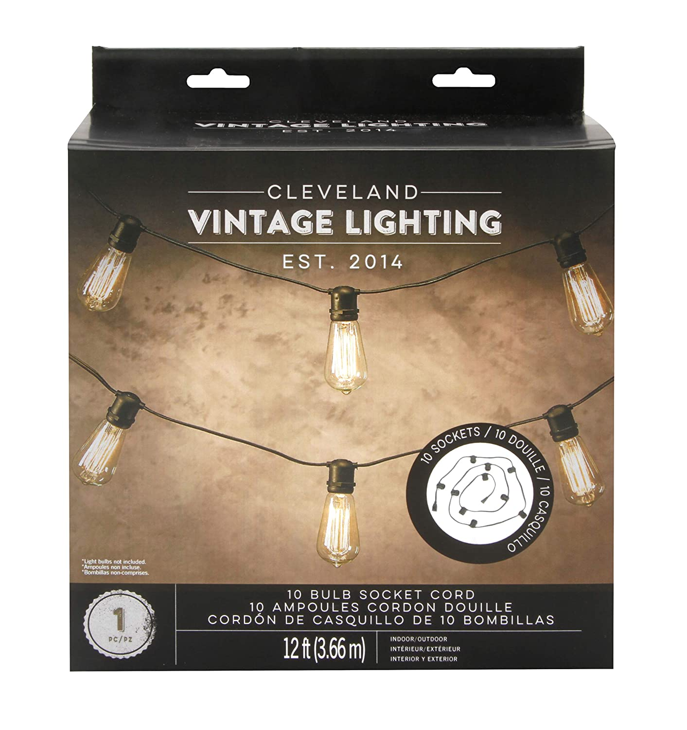 Amazon.com: Cleveland Vintage Lighting CLV105 10 Bulb Socket, Black, 12 feet, Cord: Home & Kitchen