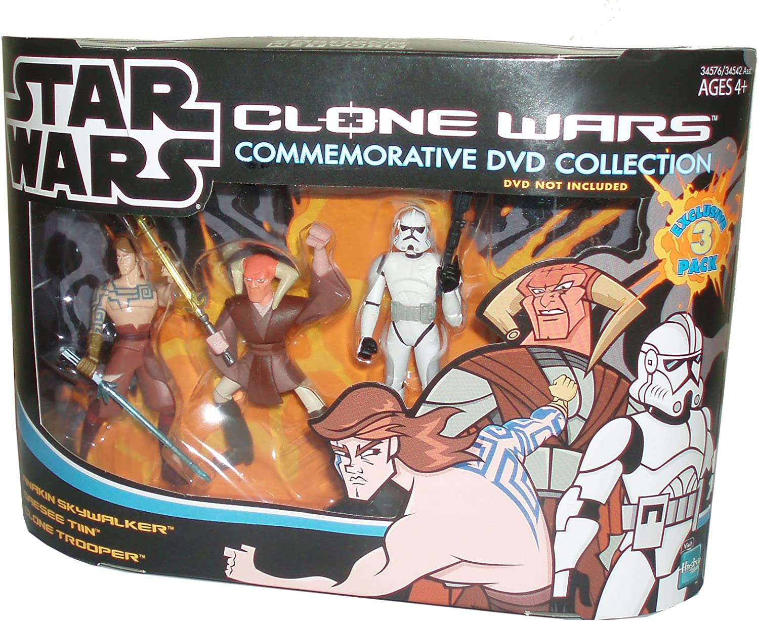 Amazon Com Cartoon Network Year 2005 Star Wars Clone Wars Commemorative Dvd Collection Animated Series Exclusive 3 Pack 4 Inch Tall Action Figure Set Anakin Skywalker With Blue Lightsaber Saesee Tin With