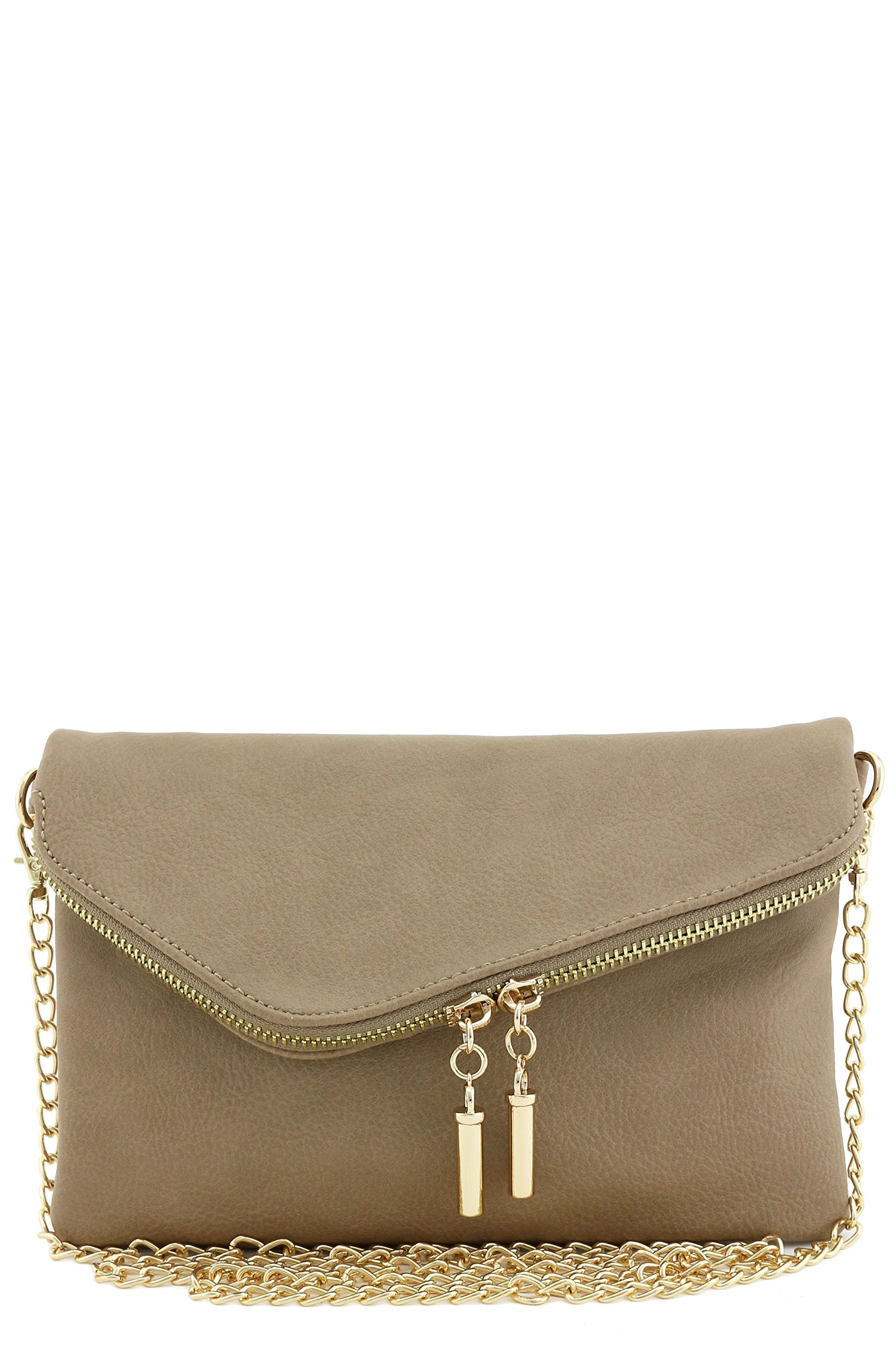 Envelope Wristlet Clutch Crossbody Bag with Chain Strap (Dark Brick)