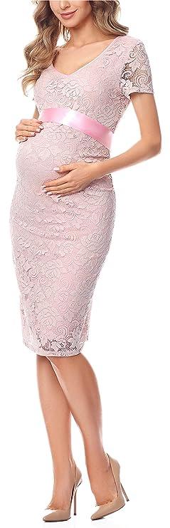 Elegante Vestido Manga Corta de Encaje Maternidad