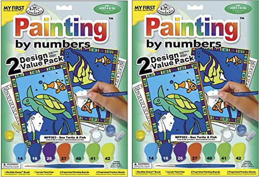 ROYAL BRUSH My First Paint by Number Kit 8.75 by 11.375-Inch Sea Animals New Version
