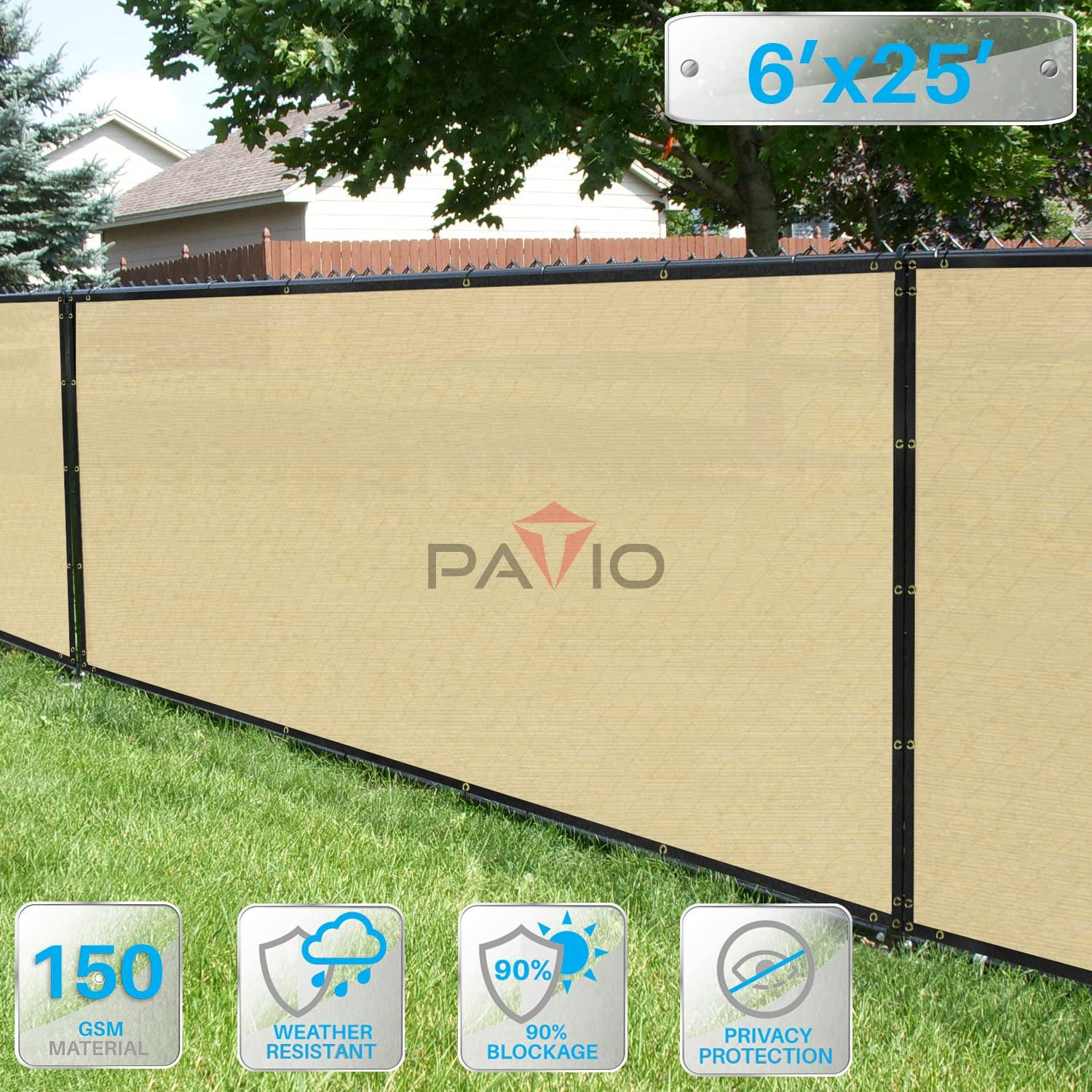 Patio Paradise 6 x 25 Privacy Screen Fence in Beige, Commercial Grand Mesh Shade Fabric with Brass Gromment Outdoor Windscren – Custom