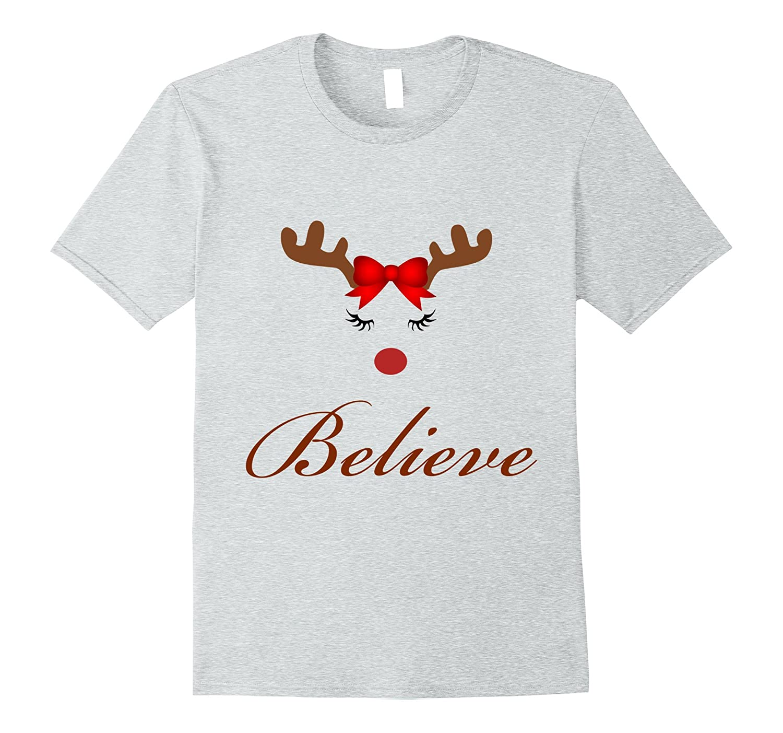 Believe Christmas cute girl reindeer t-shirt-FL