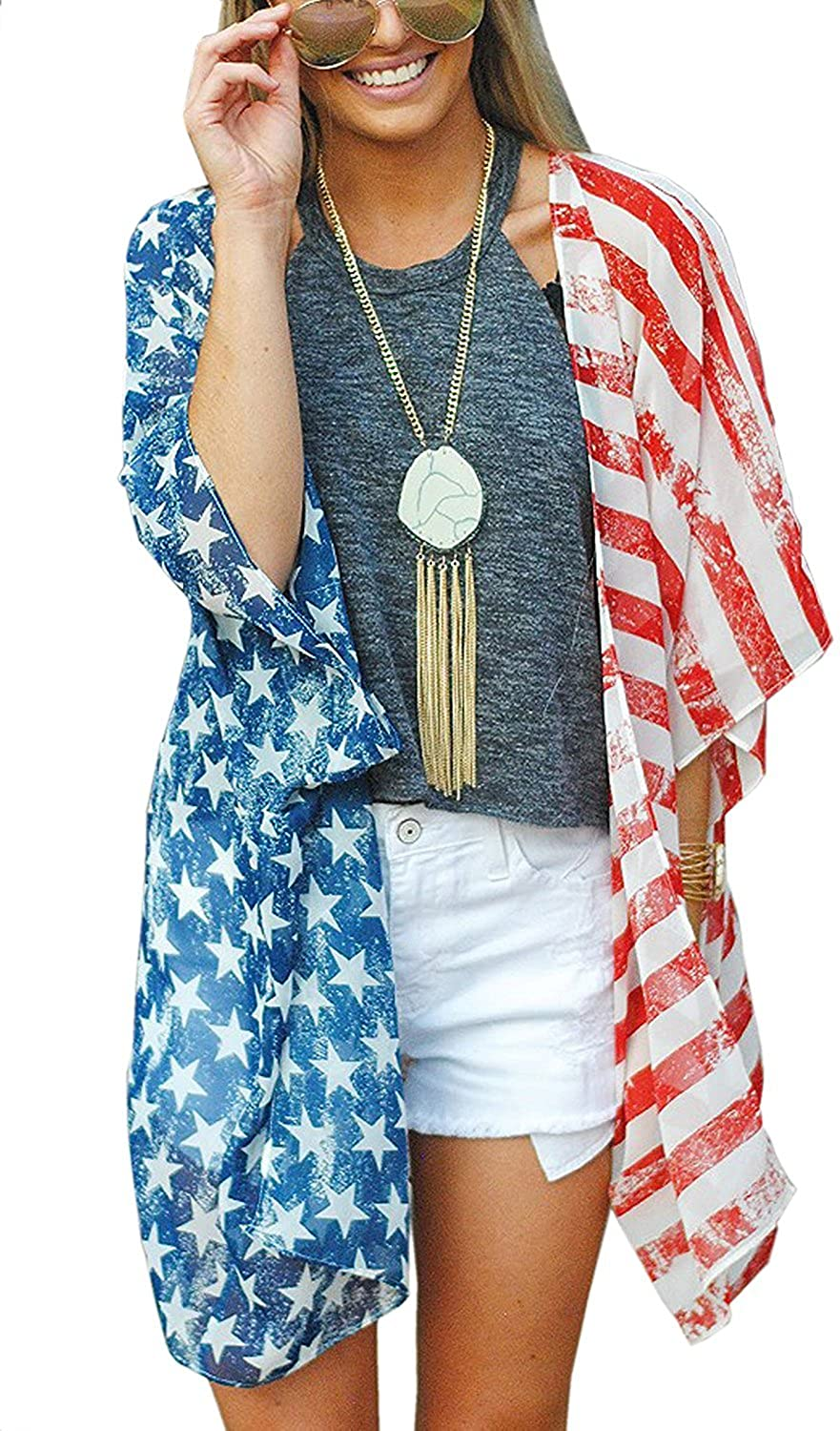 4th of July Women's American Flag Print Kimono Cover Up Tops Shirt Patriotic Cardigan (one Size, Picture Color) at  Women's Clothing store