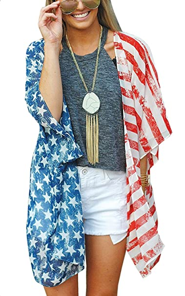 aa900c1ee8333 4th of July Women's American Flag Print Kimono Cover Up Tops Shirt Patriotic  Cardigan (one