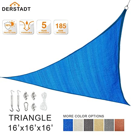 Derstadt 16 x 16 x 16 Triangle 98 UV Block Sun Shade Sail with Stainless Steel Hardware Kit, Top Outdoor Patio Canopy Backyard Shelter 5 Years Warranty, 185G HDPE, 24.6 PE Rope Blue